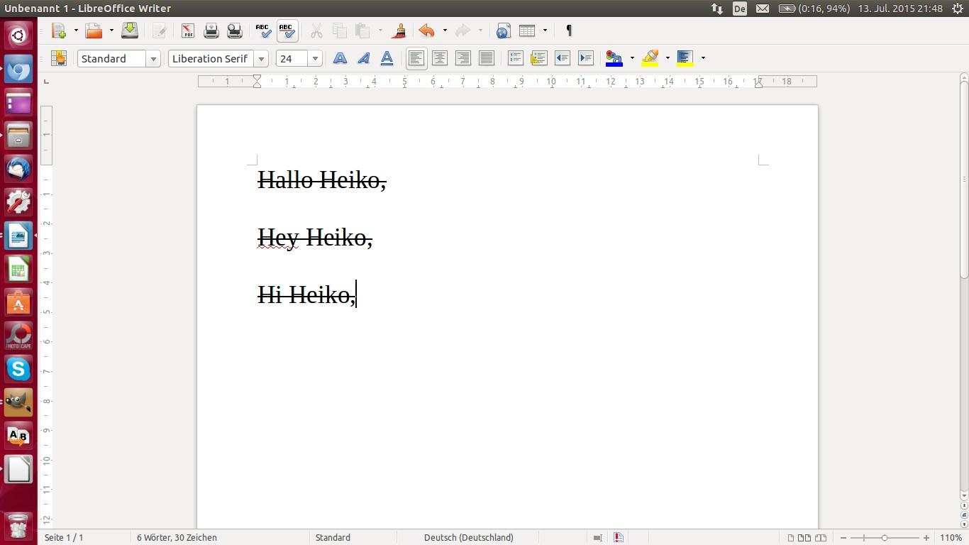 Eine Ansicht eines Schreibprogramms mit Versuchen, Heiko anzuschreiben.