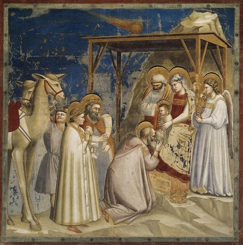 Die Heiligen Drei Könige in einem Bild gemalt. Sie waren Vorbild für die heutigen Sternsinger.